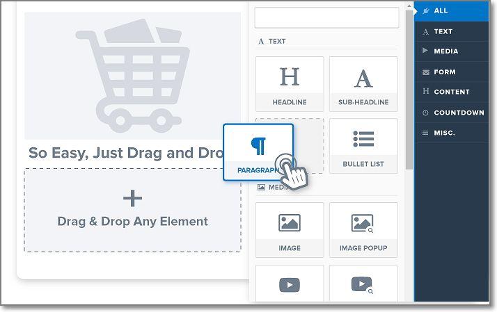 clickfunnels drag and drop feature