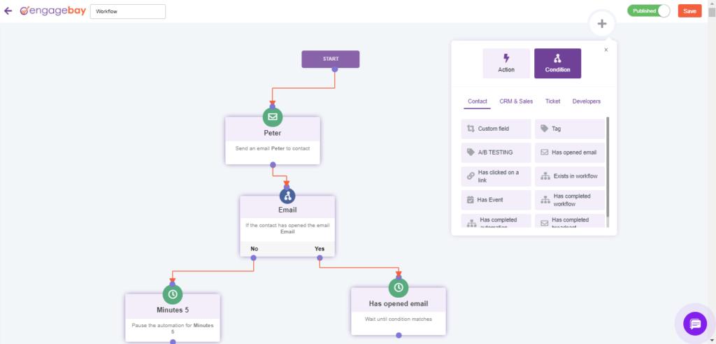 EngageBay Workflow screenshot