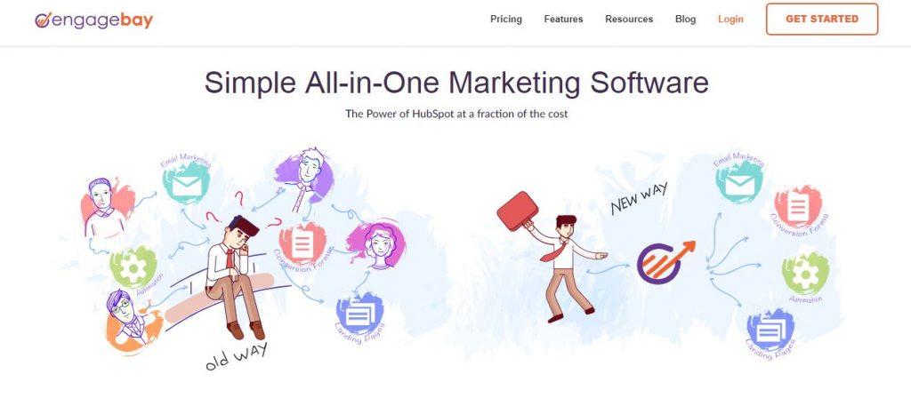 engagebay homepage screenshot
