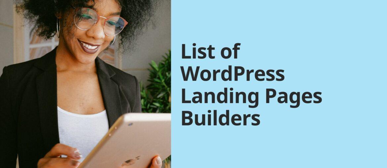 List of WordPress Landing Pages Builders